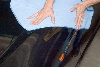 Microfiber waffle weave drying towel.