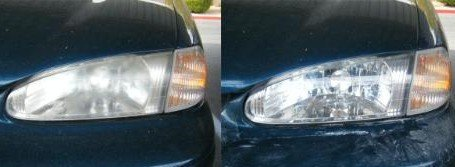 Before and after headlight restoration with plastic polish.
